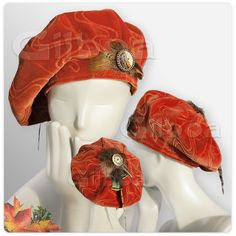 Rusty Red #Velvet #Beret by Gilboa - A #unique one of a kind piece - there is only one available. With pheasant and turkey feathers and antique buttons.