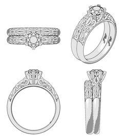 Anillo de diamantes Filigrana (cad)