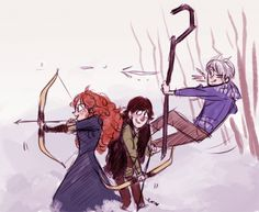 Merida and Jack the fighters.  Hiccup is just tying to find a new dragon and Rapunzel is drawing the pic