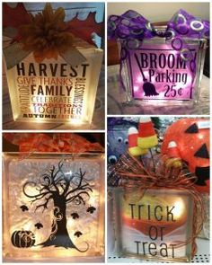 21 Creative Glass Block Craft Design Ideas For Hallowen Day Vinyl Crafts, Crafts To Do, Fall Crafts, Holiday Crafts, Vinyl Projects, Kids Crafts, Holiday Decor, Decorative Glass Blocks, Lighted Glass Blocks