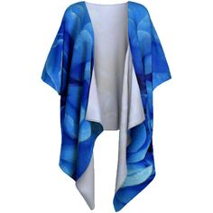 Blue Kimono Robe, Draped or Belted Robe, Plus Size Cover Up,... (190 BRL) ❤ liked on Polyvore featuring swimwear, cover-ups, plus size chiffon kimono, kimono swim cover up, kimono beach cover up, kimono cover up and beach cover up