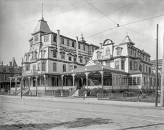"""C. 1900. """"Star Villa, Cape May, N.J."""" Completed 1885; fourth floor added 1893; moved to current location in 1967.  Shorpy Historic Picture Archive"""
