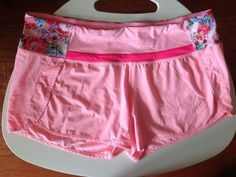 Lululemon Run Times Shorts Size 10 Flowabunga Bleached Coral Shorts Pink Floral #Lululemon #Shorts