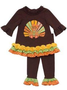 441c0d396a6 RARE Editions Thanksgiving Turkey Size 5 Dress Shirt Leggings New Ruffles  Button