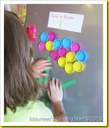 Magnets on bottle tops - love this idea