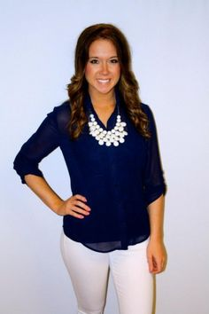 Navy blouse with white pants, bubble necklace