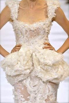 Elie Saab Couture white peplum dress