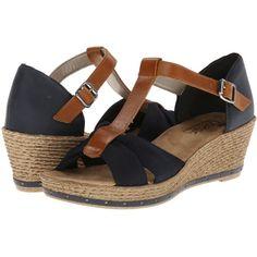 $66.99 Rieker 60459 Fanni 59 (Pazifik/Nuss Denim) Women's Wedge Shoes