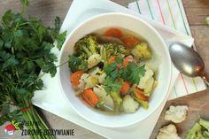 Kwiatowa zupa warzywna, postne potrawy, oczyszczanie, rozgrzewające śniadanie, zupa do pracy, zdrowy tryb życia, mądre odchudzanie. Atkins, Thai Red Curry, Healthy Eating, Cooking Recipes, Chicken, Ethnic Recipes, Exercise, Food, Diet