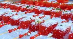 COMPRESSED WATERMELON LIME ZEST, MINT, FETA SNOW Food Art, Feta, Watermelon, Lime, Snow, Fruit, Limes, Eyes, Let It Snow