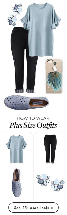 """plus size rolled jeans"" by aleger-1 on Polyvore featuring Melissa McCarthy Seven7, Casetify, Lydell NYC, Steve Madden and plus size clothing"