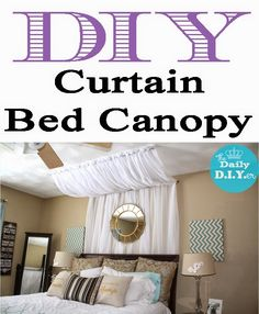 Video tutorial on how to create a curtain bed canopy! Very simple and inexpensive! The Daily DIYer: Easy DIY Bed Canopy Cafe Curtain Rods, Cafe Curtains, Diy Canopy, Diy Bed, Blue Bedroom, Easy Diy, Sweet Home, Diy Projects, Canopies