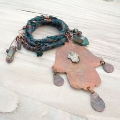 Bohemian Hamsa Necklace in Copper and Sari Silk by GypsyIntent, $67.00