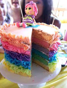 Beautiful Rainbow Cake!!! http://titticakestudio.blogspot.com/2012/09/lalaloopsy-ruffle-rainbow-cake.html
