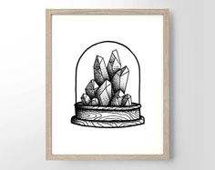 Terrarium With Crystals Original Illustartion, Dot Work, Simplistic, College Dorm Room, Indie, Hipster, Tattoo Design, Giclee Art Print