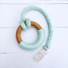 Wood and Organic Yarn Teething Ring wooden toys by CraveablyCabled
