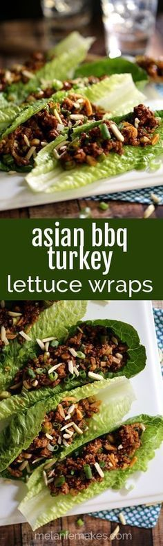 This eight ingredient, 25 minute Asian BBQ Turkey Lettuce Wrap recipe makes the perfect weeknight dinner. Ground turkey is spiked with barbecue and hoison sauces, ginger and garlic. Slivered almonds and scallions are stirred throughout and dinner is ready to be served!