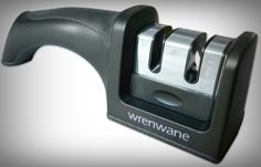 Wrenwane Kitchen Knife Sharpener is a 2 Stage Sharpening system. The sharpener is primarily designed for steel, straight bladed knives. It works good on kitchen and pocket knives. It can not sharpen ceramic or serrated blades. This professional knife shar