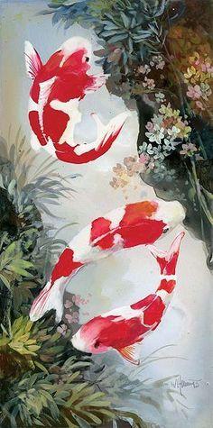 Koi 3 Canvas Art - Willem Haenraets x Koi Art, Fish Art, Fish Fish, Koi Painting, Chinese Painting, Illustration Sketches, Illustrations, Japanese Prints, Japanese Art