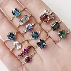 Rainbow brights our Juno Evelina Hyeres Harmony Pascale Venus Miel Marcella Monroe and Helios Rings - July 27 2019 at Cute Jewelry, Beaded Jewelry, Jewelry Box, Silver Jewelry, Jewelry Accessories, Jewelry Design, Jewellery, Pandora Bracelets, Pandora Jewelry