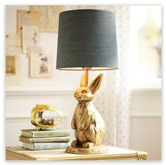 Brass bunny table lamp from PBTeen. This would be adorable in V's room.