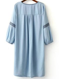 Embroidered Round Neck Long Sleeve Dress - LIGHT BLUE L