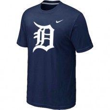 Wholesale Men Detroit Tigers Heathered Blended Short Sleeve Dark Blue T-Shirt_Detroit Tigers T-Shirt