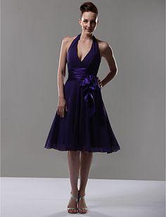 A-line Halter V-neck Knee-length Chiffon Matte Satin Bridesmaid/ Wedding Party Dress - EUR € 60.71