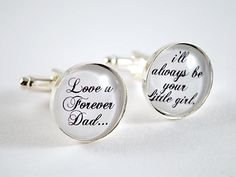 Love you forever Dad cufflinks - Wedding day keepsake gift for the Father of the bride. $28.00, via Etsy.