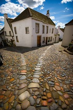 love this cobblestone road -- Fife, Scotland Fife Scotland, England And Scotland, Scotland Travel, Ireland Travel, Scotland Castles, Oh The Places You'll Go, Places To Travel, Into The West, Famous Castles