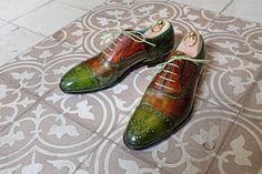 Dominique Saint Paul | Dominique Saint Paul – half brogue shoes hand coloured apple green and warm brown