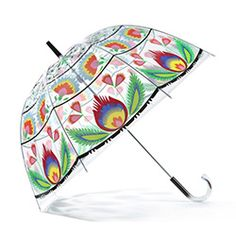 It seems counterproductive to have a non-clear bubble umbrella, but this one is awesome with its Polish wycinanki pattern!
