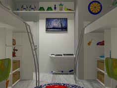 Quarto para irmãos  Painel com TV, espaço para aparelhos eletrônicos, como video-game, e prateleira para decoração.