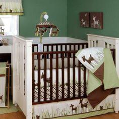 Green & Brown Deer Organic Neutral Baby Nursery 4p Crib Bedding Set for Boy/Girl | eBay
