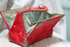 Delightful Antique French 19th Century Red Velvet Covered Sewing Box Bag C1880 | eBay