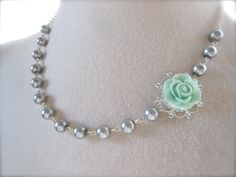Gray Mint Green Bridal Asymmetrical Necklace Choker Mint Rose flower Grey pearls Bridesmaids Jewelry Shabby chic/Wedding /Whimsical/Vintage.. $27.00, via Etsy.