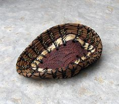 Pine needle basket, Pottery base, Beads, Hibiscus Fiber Accent