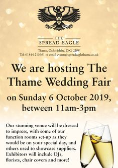 We at the Spread Eagle do our best to ensure your Wedding Day is as enchanting as possible. Book Direct on the Spread Eagle Hotel's Official website. Wedding Fayre, Our Wedding, Wedding Venues, Function Room, Spring Wedding, Opportunity, Eagle, March, Sunday