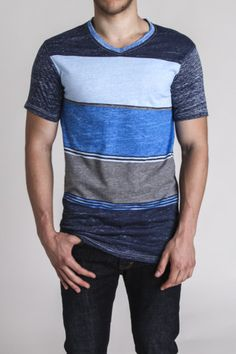Straight Faded Mixed Stripe Reverse Print V Neck