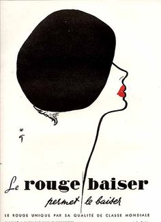 The wildly appealing French girl classic pairing of a black beret and red lips. #vintage #fashion #hat #ad #illustration