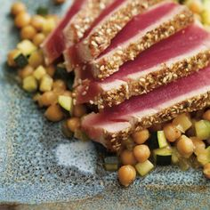 Ricardo& recipe : Chickpeas, Apple and Zucchini Salad Tuna Steak Recipes, Fish Recipes, Salad Recipes, Snack Recipes, Fish And Meat, Fish And Seafood, Good Healthy Recipes, Healthy Snacks, Healthy Eating
