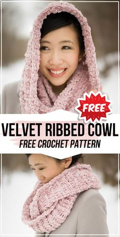 Velvet Ribbed Cowl free pattern - easy crochet cowl pattern for beginners : crochet Velvet Ribbed Cowl free pattern - easy crochet cowl pattern for beginners : 5 Ways to Cast on in the Middle of a Row [Tutorial] Crochet Hooded Cowl, Hooded Scarf Pattern, Crochet Cowl Free Pattern, Crochet Shawl, Crochet Yarn, Easy Crochet, Chunky Crochet Scarf, Knitting Patterns, Beanies