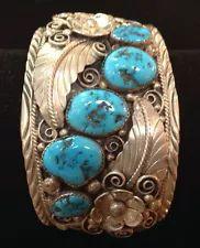 HUGE Old Pawn Navajo KINGMAN TURQUOISE STERLING SILVER Cuff Bracelet 97 Gr