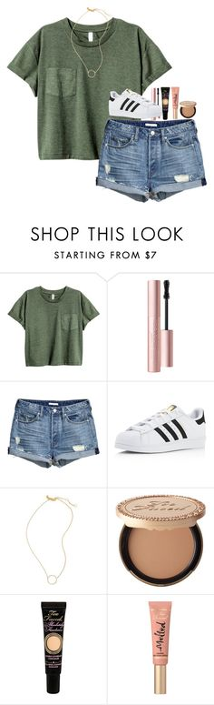 """""""Green and Gold"""" by artsydoglovergabs ❤ liked on Polyvore featuring Too Faced Cosmetics, adidas and Madewell"""