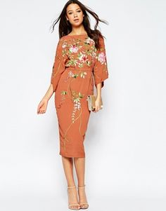 ASOS TALL Kimono Midi Dress With Embroidery