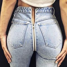 InstaHot Back Zipper Light Blue Denim Jeans Pocket Pants Women Sexy Straight Trouser 2018 Autumn Winter New Arrival Jeans Female(China) Jeans Skinny Azul, Light Blue Skinny Jeans, Light Wash Jeans, Blue Denim Jeans, Light Blue Jeans Outfit, Plaid Jeans, Denim Pants, Ripped Jeans, Best Jeans For Women