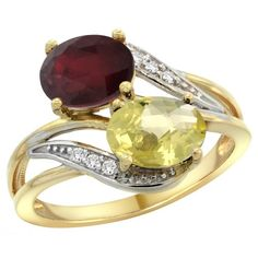14K Yellow Gold Diamond Enhanced Ruby & Natural Lemon Quartz 2-stone Ring Oval 8x6mm, size 5.5, Women's