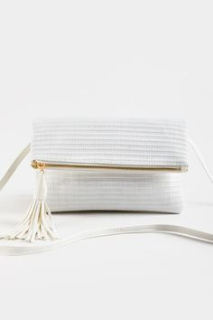 Aberdeen Foldover Woven Crossbody Aberdeen, Vegan Leather, Tassels, Ivory, Handbags, Products, Totes, Tassel, Purses