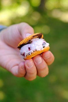 Ritz Cracker Ice Cream Sandwiches from Joy The Baker. Addictive little two-bite salty  sweet ice cream sandwiches!   foxeslovelemons.com