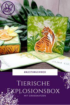 Anleitungsvideo zu dieser tollen Explosionsbox mit dem Tiger in der Mitte Paper Trimmer, 3d Paper, Tiger, Up, Blog, Crafts, Book Folding, Manualidades, Blogging